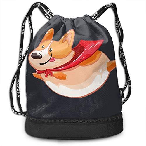 DPASIi Unisex Flying Fat Corgi Multifunctional Drawstring Bag Casual Outdoor Daypack,Adjustable String Closure