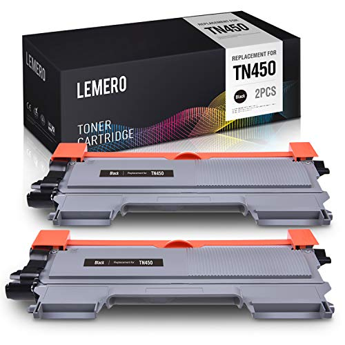 LEMERO Compatible Toner Cartridge Replacement for Brother TN450 TN420 TN-450 TN-420 High Yield to use with HL-2270DW HL-2280DW HL-2240 MFC-7360N MFC-7860DW DCP-7065DN (2 Black)