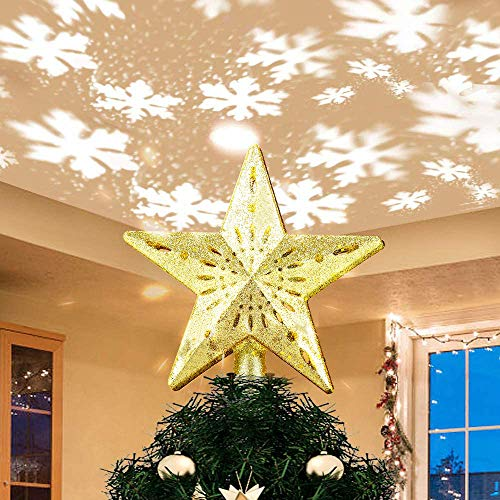 Christmas Tree Topper Lighted Star Xmas Tree Topper with LED Rotating Snowflake Projector, Gold Glittered Star Holiday Tree Decor Topper Starry Night Light for Christmas Nursery Bedroom Decoration