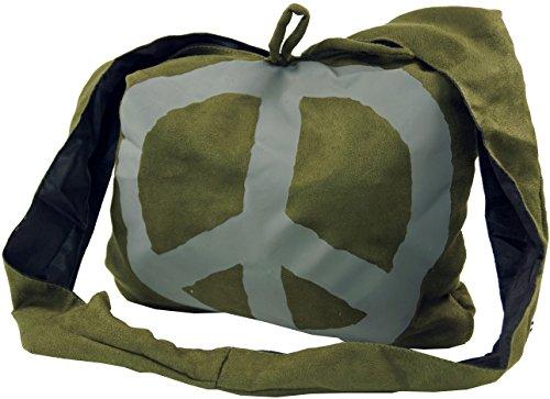 GURU-SHOP Sadhu Borsa Peace Hippie Bag, Borsa a Tracolla Goa - Verde, Unisex - Adulti, Sintetico, Size:One Size, 30x35x20 cm, Borse Sadhu, Borse Hippie