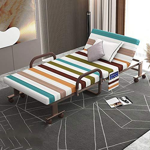 YALIXI Cama Plegable, Individual Doble hogar Simple portátil cómodo reclinable habitación de Alquiler Marco de Hierro Cama de Siesta de Oficina móvil,120cm Wide