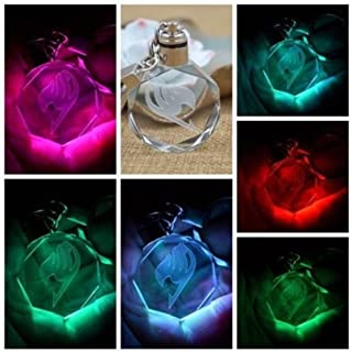 Alicenter(TM) New Fairy Tail Anime Crystal LED Light Charm Key Chain Key Ring Cosplay 1PC