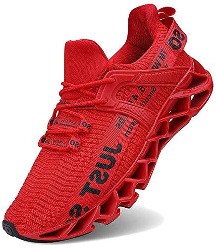 JSLEAP Laufende Tennisschuhe der athletischen gehenden Klingen der Männer Mode-Turnschuhe (2 Rot,Größe 44 EU/270 CN)