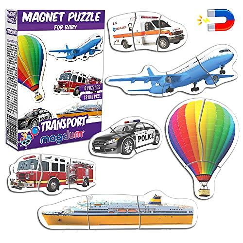 Magnetica Puzzle 3 años MAGDUM Medios Transporte - 6 Grandes Puzzle Bebe 1 año - Juguetes magnéticos - Imanes Nevera niños - Juguetes niños 3 años educativos - Letras magneticas niños - Imanes niños