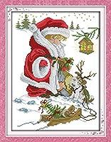 クロスステッチ刺繍キット Awesocrafts ハッピークリスマスサンタクロース犬 図柄印刷 DIY 初心者ホームの装飾 Cross Stitch (ハッピークリスマス 4)