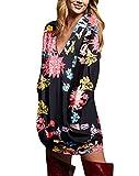ZANZEA Vestidos Sudadera Mujer Impresión Cuello V Manga Larga Otoño Jerseys de Punto Largos Casual Tallas Grandes Suéter Suelta Floral 2 XXL