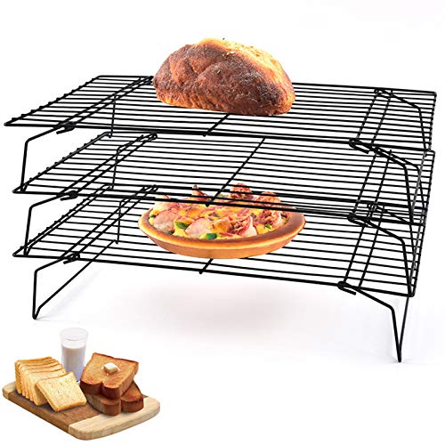 """3-Tier Stackable Cooling Rack for Cake, Pastry, Bread, Meat and More Cooling Roasting Cooking for Cookies Baking,15.7""""x9.6""""x12"""""""