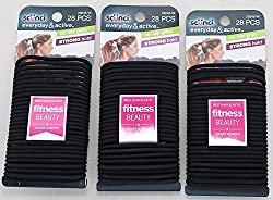 top 10 scunci ss 1000 Scunci No Slip Grip Jelly Rubber Band, Black 28 with Strong Hold (3 Pack)