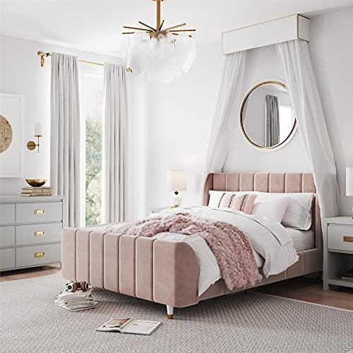 Little Seeds Valentina Upholstered Bed, Full, Pink