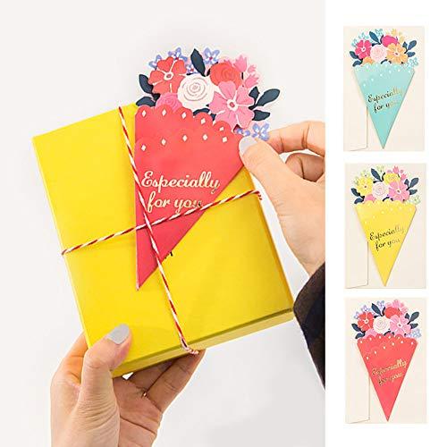 moin moin メッセージ カード 花束 花 フラワー ブーケ 型 薔薇 ローズ カード + 封筒 3種セット (レッド/イエロー/ミント)