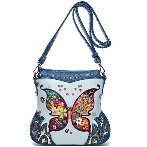 Damen-Handtasche mit Schmetterlings-/Blumendesign, verdeckt, mit Strass, Crossbody-Tasche, Blau (blau), Einheitsgröße