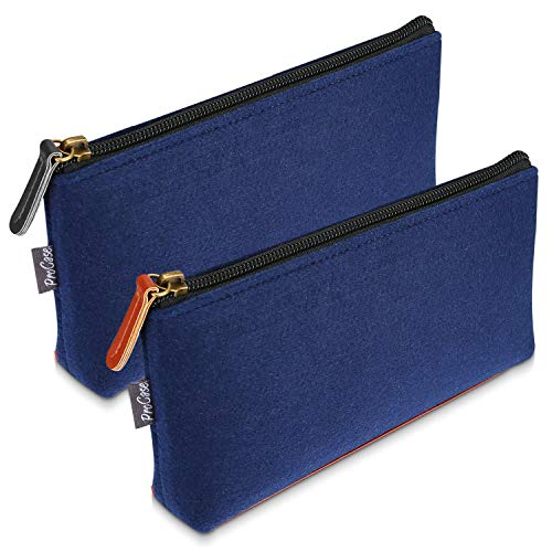 ProCase Pencil Bag Pen Case, Felt Students Stationery Pouch Zipper Bag for Pens, Pencils, Highlighters, Gel Pen, Markers, Eraser and Other School Supplies -2 Pack, Small, Navy