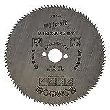 Wolfcraft 6264000 6264000-1 Hoja de Sierra Circular CV, 100 dient, Serie Azul diam. 150 x 20 x 2 mm, 150x20x2mm