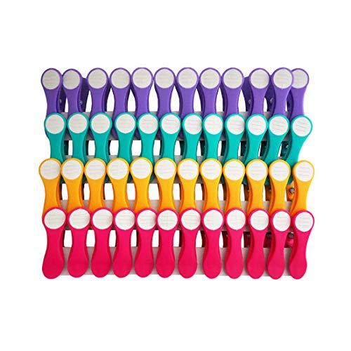 Pinces à linge - pince en matière douce et adhérente - violet/turquoise/jaune/rose/blanc - 48 pinces