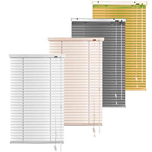 S SIENOC Aluminium Metal Venetian Blinds Easy Fit 25mm Slat for Home Office for Clamping, Privacy, Light and Glare Protection (80x130cm, Grey)