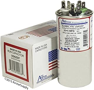 Goodman CAP050350440RSP • 35 + 5 uf / Mfd 370 / 440 VAC AmRad Replacement Round Dual Universal Capacitor • Made in the U.S.A.