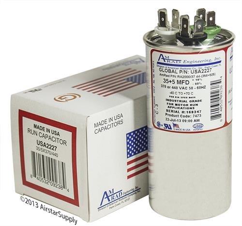 AmRad USA2227 35 + 5 uf MFD 370 Volt VAC - Amrad Round Dual Run Capacitor Upgrade