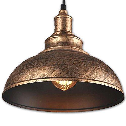 FLTRADE Hängeleuchte Industrielampe Vintage Lampenschirm E27 LED Lampen Hängelampe Hängeleuchte Deckenleuchte Pendelleuchte Edison Industriebeleuchtung Eisen Kürbisflasche Lampe Φ 30cm,Bronze
