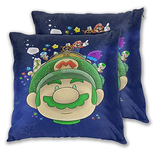 Funda de almohada Super Mario Galaxy 2 para sofá, cama, silla, decorativa, 50 x 50 cm, juego de 2