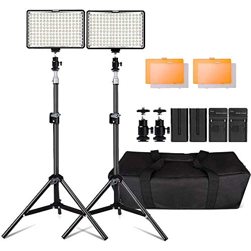Kit de LED Iluminación,Yeeteem 160 Regulable Ultra High Power Panel Cámara Digital / Videocámara Video Light con Soporte de Luz de Estudio de 79 'Alto y 3200/ 5500K Kit de Luces Video