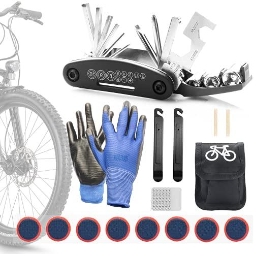 JIPRENS Fahrrad Reparatur Set, 16 in 1 Werkzeuge Fahrrad-Multitool Multifunktionswerkzeug Werkzeugset Fahrrad mit Tasche Reparatur Fahrradwerkzeug Toolmit Satteltasche für Mountainbike und Rennräder