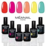 Coffret manucure vernis semi-permanent Summer • 6 vernis à ongles Colors : Corail, Fuschia, Just Dance, Abricot, Limonade & Bleu Vert • KIT Manucure Méanail Paris •  Vegan & Cruelty Free