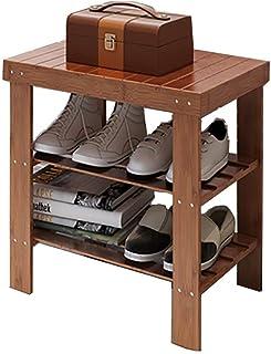 JJZXT Porte-Chaussures - Porte-Chaussures en Bois Massif, Espresso Accueil Rack for Chaussures Salon Entrée Chambre Hall ...