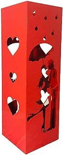 CAI & ZAI Porte-parapluies Love carré avec bac amovible. Dimensions 15 x 15 x 47 cm. Rouge. Fabriqué en Italie. Design mod...