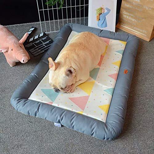 LCSD Cama de perro mascota gato perrera cuatro estaciones Cool Pad Mat verano Dormir Pad Pad Pad hielo seda frío nido gris 68 * 47 * 5 cm