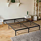 KINGSO Queen Bed Frame, 14 Inch Metal Platform Bed Frame with Storage, Heavy Duty Steel Slat and Anti-Slip Support, Easy Quick Lock Assembly, No Box Spring Needed - Queen