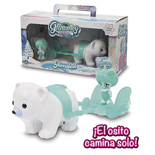 Glimmies Polaris -  Glimsled Trineo con Oso que Camina y Muñeca Glimmie Exclusiva con Luz  (Giochi Preziosi GLP04000)