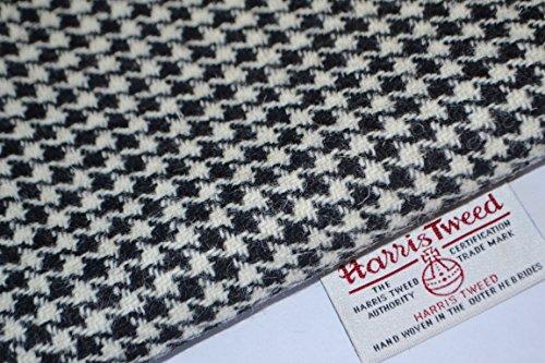 Harris Tweed Stoff 100% reine Schurwolle schwarz & weiß Houndstooth halben Meter...