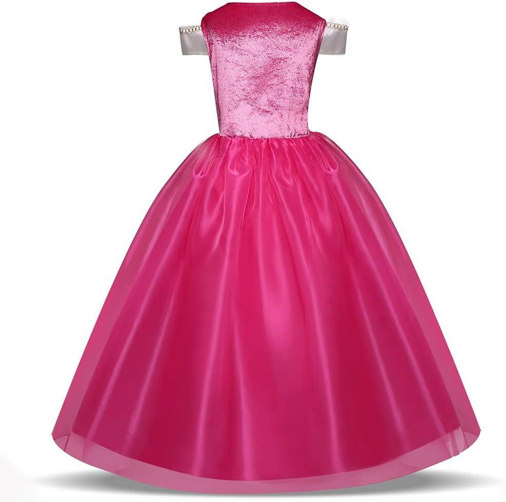 TXYFYP Ni/ña Princesa Aurora Vestido Bella Durmiente Disfraz Cosplay Halloween Navidad Cumplea/ños Disfraz Vestido Fit para Edad 3-10 A/ños Rosa 110cm