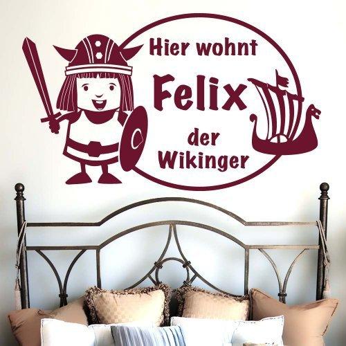 Kleiner Wikinger mit Wunschnamen 60x35cm - Farbe: Silbermetallic