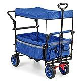 Waldbeck Easy Rider - Carretilla techada, Carro, Resiste 70 Kg, Funda de poliéster 600D Resistente y fácil de cuidar, 2 Cinturones de Seguridad para niños, Plegable, Manillar telescópico, Azul