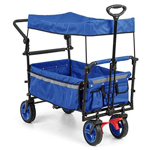 Waldbeck Easy Rider - Bollerwagen mit Dach, Handwagen, bis 70kg belastbar, robuster und pflegeleichter 600D Polyesterbezug, 2 Sicherheitsgurte für Kinder, faltbar, Teleskop-/ Schubstange, blau