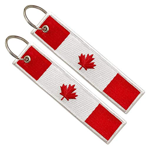 2 Pack Canada Flag Keychain Tag with Key Ring, Keychain for Motorcycles, Scooters, Cars and Gifts