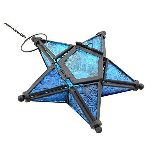 ZHOUBA Photophore en verre coloré à suspendre en forme d'étoile à 5 branches - Décoration de bar - Bleu