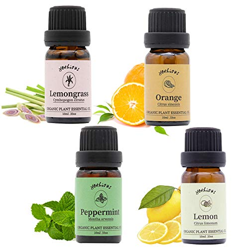 Yethtious Orange Lemon Peppermint Lemongrass Essential Oil Set 100% Pure Therapeutic Grade 4 Pack Aromatherapy Gift Oils Kit for Message Humidifier Skin Care