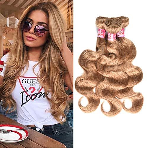 New Year Promotion Brazilian Virgin Remy Hair 3 Bundles Honey Blonde Body Wave Weave Human Hair Sew in 9A Grade Brazilian Thick Body Wave Bundles 100g/bundle (12 14 14inch)