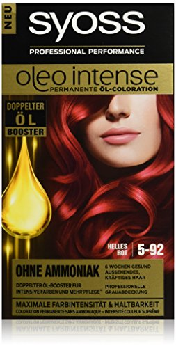 Syoss Oleo Intense Haarfarbe, 5-92 Helles Rot, 3er Pack (3 x 115 ml)