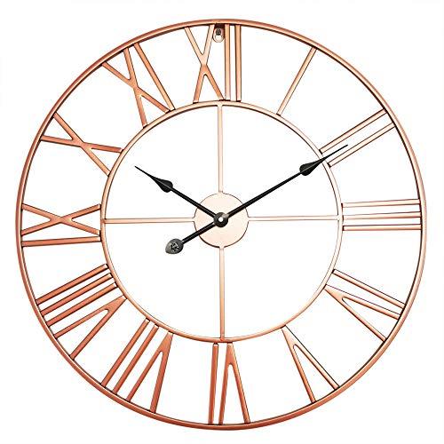 Antic by Casa Chic - Große Metall Wanduhr mit Quarz Uhrwerk - 60 cm Durchmesser - Römische Ziffern - Vintage Zeiger - Rosegold
