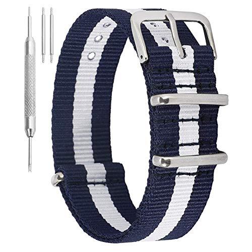 Correas de Reloj de Nylon 12mm para Mujer Correas de Reloj de Nylon Azul Blanco Bandas Reemplazo de cinturón para Mujer Banda de Correa de Reloj de Nylon Suave, cómoda y Fina con Hebilla sólida