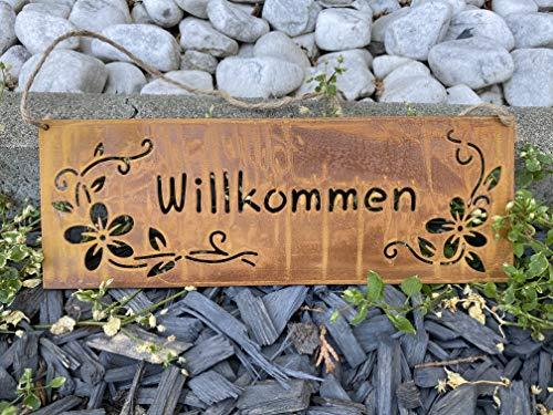 Dio Edelrost Schild Metall Tafel Willkommen mit Blumen Garten Dekoration Rost Schild Tafel