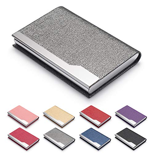 FACATH Business Card Holder Case - Luxury PU Leather Name Card Holder & Stainless Steel Multi Card Case, Slim Metal Pocket Card Holder Wallet Credit Card ID Case/Holder with Magnetic Shut (Gray)