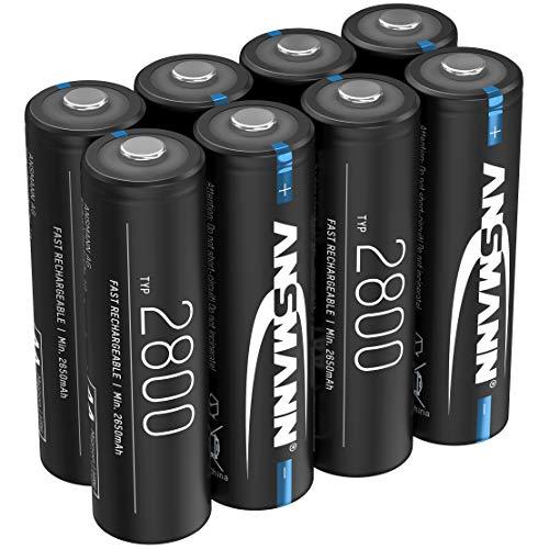 ANSMANN - Pilas AA (2800 mAh, NiMH, 1,2 V, Recargable, Alta Capacidad, Ideal para Altas Necesidades de Electricidad como Linterna, Controlador, cámara, Flash fotográfico, modelismo (8 Unidades)