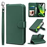 ULAK Compatible avec le portefeuille iPhone 12 Pro Max pour homme avec porte-carte de crédit, béquille en cuir PU rabattable Housse de protection antichoc pour téléphone conçue pour iPhone 12 Pro Max 6,7 pouces, vert