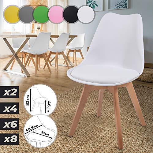 MIADOMODO Esszimmerstühle 2er 4er 6er 8er Set - im Skandinavischen Stil, gepolstert mit Sitzkissen, aus Kunststoff & Massivholz, Farbwahl - Vintage, Retro, Küchenstuhl, Stühle (6er, Weiß)