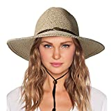 Womens Sun Staw Hat with Wind Lanyard UPF Beach Packable Summer Beach Cowboy Gargen Straw Hats for Women Men Beige