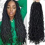 Saimisu 7 Packs New Faux Locs Crochet Hair 24 inch Pre-looped Natural Goddess Faux Soft Locs Crochet Braids Synthetic Fiber long Hair Extensions 1B#